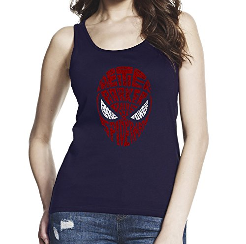spider-man+tank+tops Products : Inspired by Spiderman Mask, Women Black/Navy Blue 100% Softstyle Cotton Tank Top S-2XL, d1342