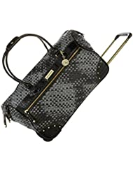 Samantha Brown Basket Weave Luggage Wheeled Weekender Bag - Black / Gray