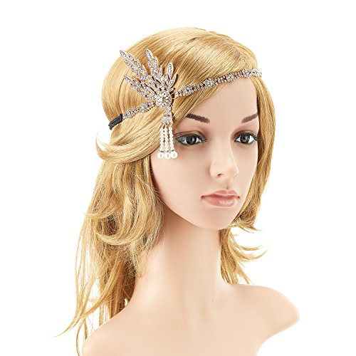 KaKaxi 1920s Pearl Headpiece Headband Flapper Great Gatsby Leaves Bead Medallion for 20's Themed Party Wedding (Cute Flapper Costumes)