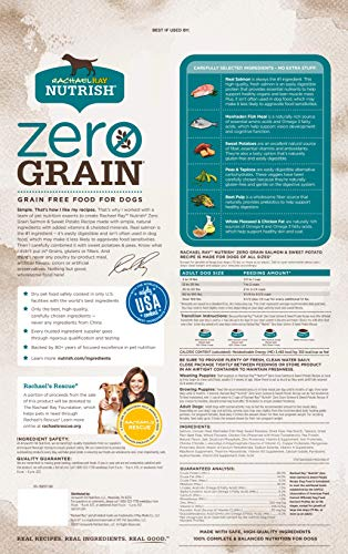 Rachael Ray Nutrish Zero Grain, Salmon & Sweet Potato Recipe Dry Dog Food, 23 Pounds, Grain Free