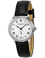 Frederique Constant Slim Line Silver Guilloche Dial Black Leather Ladies Watch 235M1S6