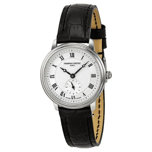 Frederique Constant Slim Line Silver Guilloche Dial Black Leather Ladies Watch (Black Guilloche Dial)