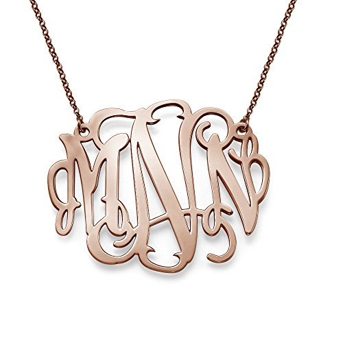18k Rose Gold Plated Personalized XXL Statement Monogram Necklace- 2 (Monogrammed Pendant Necklace)