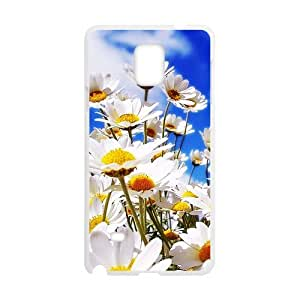 HOT sale, Beautiful Daisy Flower picture for white plastic SamSung Galaxy Note4 case