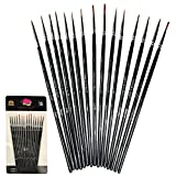 Paintbrushes 15 Piece Set for Detail Painting finetip Paint Brush Set Round Pointed Tips Nylon Hair for Acrylic & Watercolor Paints