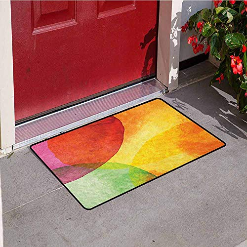Gloria Johnson Abstract Universal Door mat Abstract Watercolor Painted Paper Style in Modern Art Design Print Door mat Floor Decoration W15.7 x L23.6 Inch Yellow Orange Lime Green