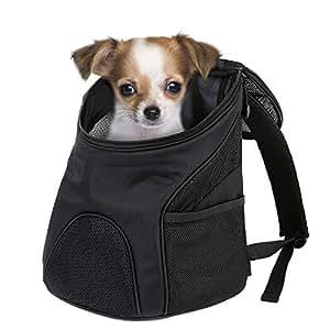Femor Mochilla Bolsa Bolsa Hombro para llevar Gatos y Perros Mochilla para Mascotas Con Malla Transpirante Color Negro 29 × 24.5 × 34cm Bolso con Abertura para Viaje