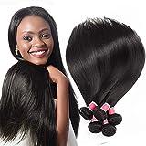 Cheap CYNOSURE 8a Brazilian Virgin Hair 3 Bundles Straight Hair 100% Unprocessed Human Straight Hair Weave Bundles Natural Black (16 18 20inches)