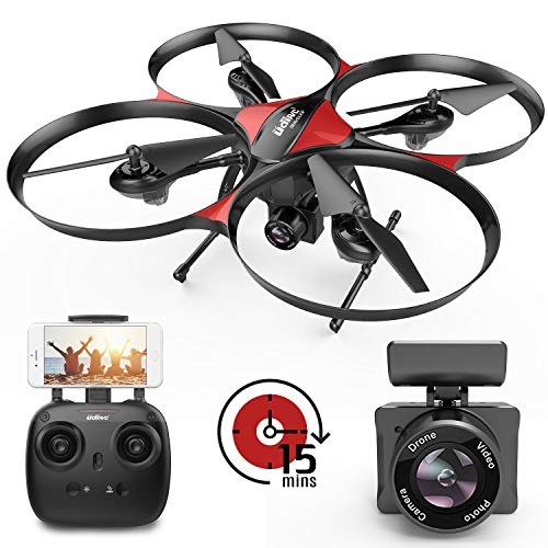 DROCON Wi-Fi Drone with FPV 720P HD Camera and Real-time Video, Quadcopter Designed for Beginners with a 15-min Flight Time, Altitude Hold, Headless Mode, 4GB TF Card Included