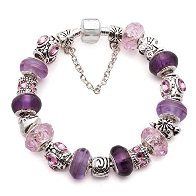 (7.8inch/20cm) Special Holiday Occasions like Valentine's Day, Mothers Day, Christmas, Birthday, Wedding, Anniversary Gifts Fashion European Hot Fashion Style Purple Murano Glass Beads Charm Beaded Complete Silver Plated Bracelets for Women Girls Jewelry