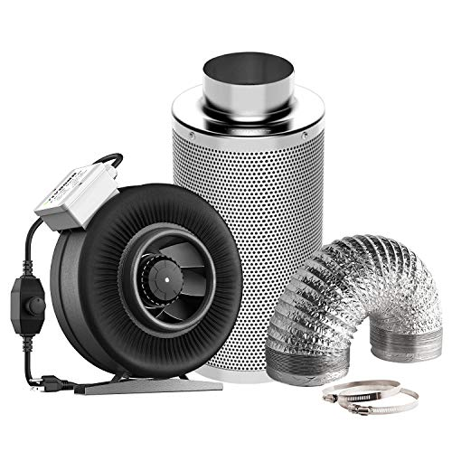 (VIVOSUN 6 Inch 440 CFM Inline Fan with Speed Controller, 6 Inch Carbon Filter and 8 Feet of Ducting Combo for Grow Tent Ventilation)