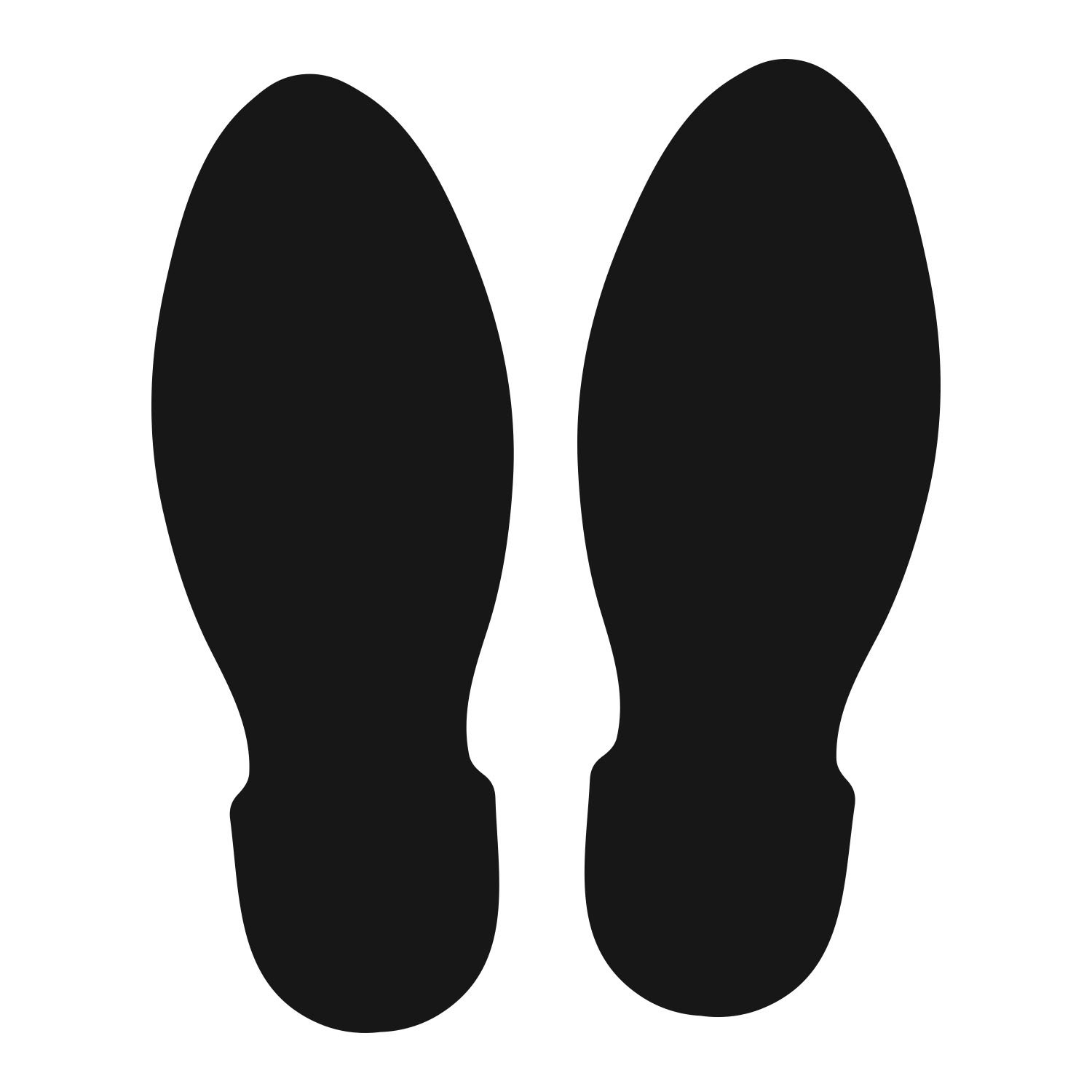 LiteMark 9 Inch Black Unifoot Footprint Stickers Safe for Floors and Walls Straight Feet Design 6 Pairs