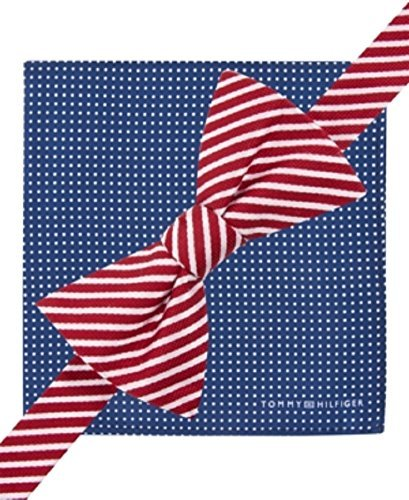 Tommy Hilfiger Pre-Tied Bow Tie & Pocket Square Set Thin Stripe and Pin Dot (Tommy Hilfiger Bow Tie And Pocket Square Set)