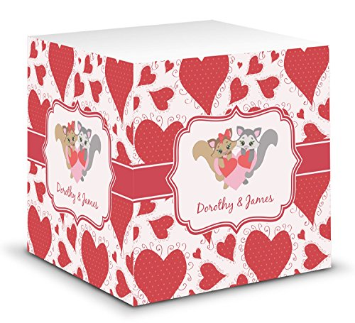 Cute Raccoon Couple Sticky Note Cube (Personalized)