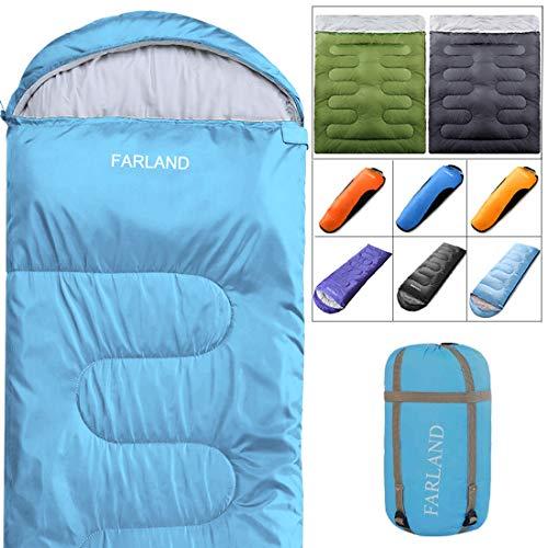 Camping Sleeping Bag 4 Season Envelope MummyOutdoor Lightweight Portable Waterproof for Adults & Kids,Women,Girls,Boys,Perfect for Traveling,Hiking and Outdoor Activities(Sky Blue, Rectangular)