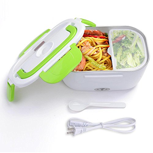 Yescom 1.5L Portable Electric Heating Lunch Box Food Storage Warmer w/ Stain Steel & PP Removable Container Green
