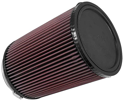 K&N RU-3020 Universal Clamp-On Air Filter: Round Straight; 5 in (127 mm) Flange ID; 9 in (229 mm) Height; 6.5 in (165 mm) Base; 6.5 in (165 mm) Top