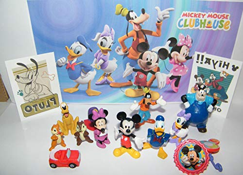 Funtime Disney Mickey Mouse Clubhouse Figure Set of 12 Toys Also with 2 Disney Tattoos and More Featuring Mickey Mouse and His Friends, Chip & Dale, Pete, Mickey's Car and More! (The Animals The Mickie Most Years And More)