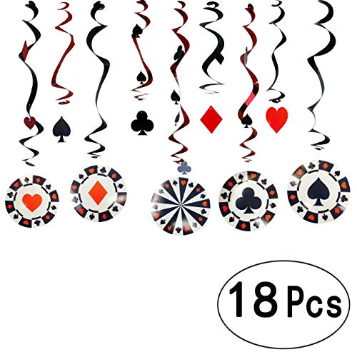 Game Night Casino Party Foil Hanging Swirls Decorations Viva Las Vegas Ceiling Hangings Garlands Cards Bingo Poker Card Casino Night Party Whirls Hanging Decorations, 18Ct]()