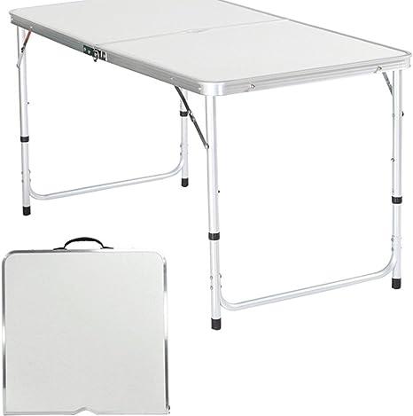 begorey mesa de camping de aluminio jardín mesa plegable 120 x 60 ...