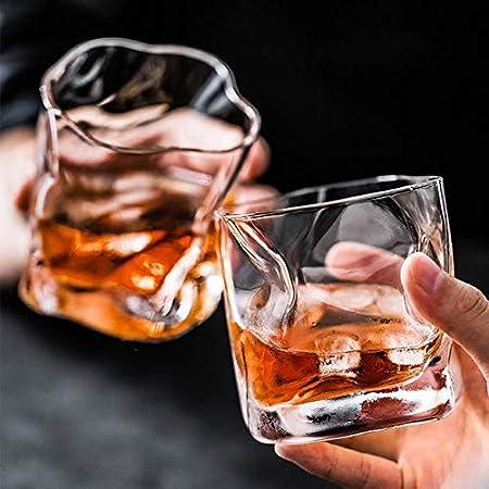 Forma Irregular Scotch Whisky Glass Crystal Wine Glasses Fold Licor Whisky Beber Taza Safe Glassware Brandy Tumbler Beer Cup, 2 Pcs Glass, 245ml 10oz