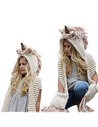 FANTASIEM - Gorro de Invierno, diseño de Unicornio con Bufanda, con Capucha, para Cosplay, fotografía para niñas