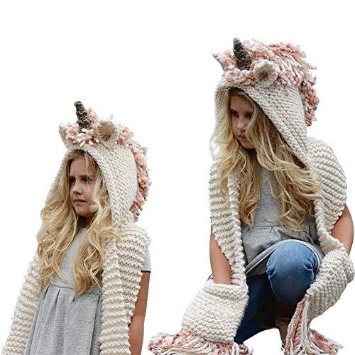 FANTASIEM - Gorro de Invierno, diseño de Unicornio con Bufanda, con Capucha, para Cosplay, fotografía para niñas, Rosado,...