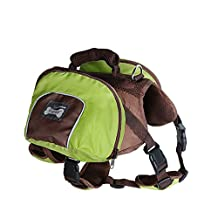 PETTOM Dog Backpack Adjustable Saddlebag Style Rucksack with Harness for Pet Travel Hiking Camping Training(Green, S)