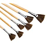 Meeden Artist Fan Paint Brush Set Long Handle for Oil Acrylic Painting Handmade Wild Boar Bristle, 6 Pieces