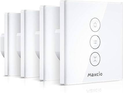 【LED Controlable】 Interruptor Persiana, Maxcio Interruptor Inteligente Control por WiFi y Voz Compatible con Alexa y Google Home con Temporizador para Motor Tubular de Cortinas, 4 Piezas