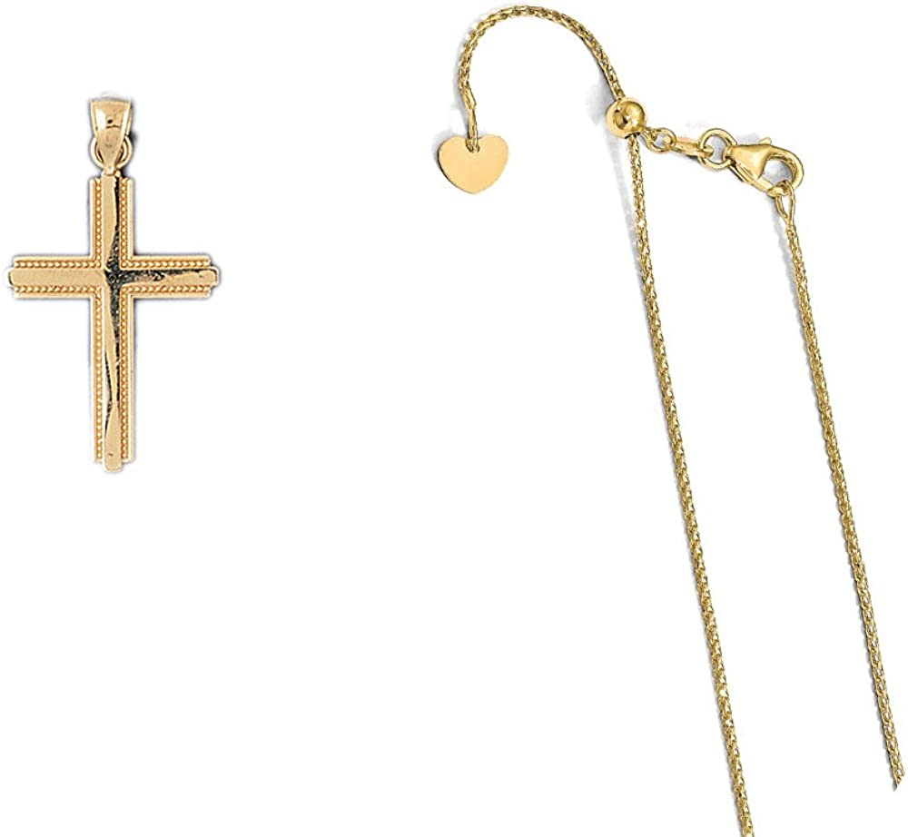 14K Yellow Gold Cross Pendant on an Adjustable 14K Yellow Gold Chain Necklace