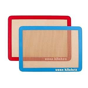"UOON Silicone Baking Mat Sheet Set (2) Half Sheets 16.5"" x 11 - Non Stick Cookie Sheets Professional Grade"