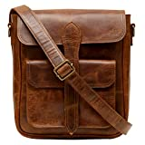 Enew Handmade Women Vintage Style Genuine Brown Leather Cross Body Shoulder Bag Handmade Purse (Brown)