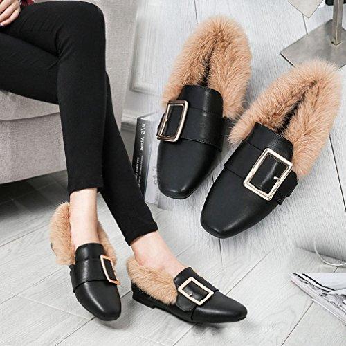 ANI Maomao Zapatos de Mujer Otoño E Invierno Zapatos Laterales Europeos Y Americanos, Además de Zapatos Planos de Terciopelo con un Solo Zapatos Planos Marea de Zapatos de Guisantes UN