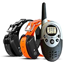 TIMPROVE 330 Yards Range Remote Dual Dog Training Collar, Rechargeable and IPX7 Rainproof Dog Shock Collar with Beep, Vibration and Shock, Electric Dog Collar for Puppy, Small, Medium and Large Dogs