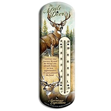 American Expedition Mule Deer Tin Back Porch Thermometer