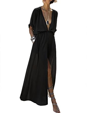 Women s Deep V Neck High Slit Evening Gowns Elastic Waist Plain Party Maxi  Long Dress Plus Size at Amazon Women s Clothing store  06f7bfae61a2