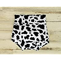 Highwaisted Black and White Cow print Bummies, Baby Shorts, Multiple Sizes Available