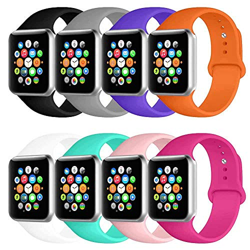 BOTOMALL Compatible with Iwatch Band 38mm 40mm 42mm 44mm Classic Silicone Sport Replacement Strap Bracelet for Iwatch All Models Series 4 Series 3 Series 2 Series 1 S/M M/L (a-8Pack2, 38/40mm M/L)