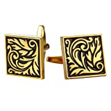 Man Classy Square Cufflinks 2 PCS 18K Gold Plated Black Enamel Floral Design Wedding Business Shirt Accessories