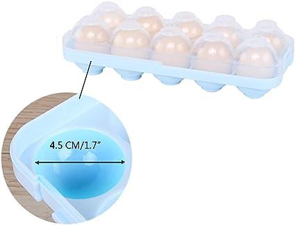 Value Sky Huevera de Pl/ástico para La Nevera Azul Huevera de Pl/ástico Apilable Envase para Huevos con Capacidadpara Huevos Caja de Huevos con Tapa para Refrigerador y Acampar Aire Libre