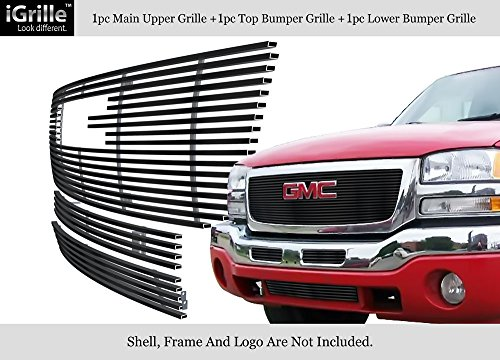 (APS Compatible with 2003-2006 GMC Sierra 1500 Stainless Steel Black 8x6 Horizontal Billet Grille Insert Combo G67926J )
