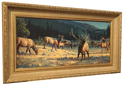 (Nancy Glazier ROCKY MOUNTAIN MEADOW Framed CANVAS Elk Art Limited Edition Stunning One of a Kind showpiece.)