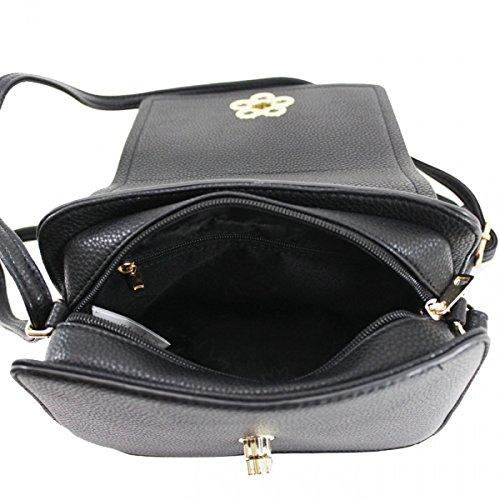 Black Flower LeahWard Messenger Body Shoulder Bags Handbags One Women's 2142 Cross qwgxwCzR