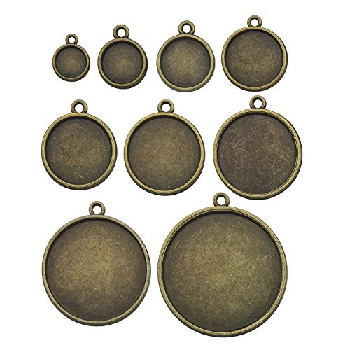 - 36pcs Mixed Blank Round Pendant Trays Collection, Double Sided, Antique Bronze Tone, Fit 8mm 10mm 12mm 14mm 16mm 18mm 20mm 25mm 30mmCabochon, Base Setting Bezel Frame Cameo (HM171)