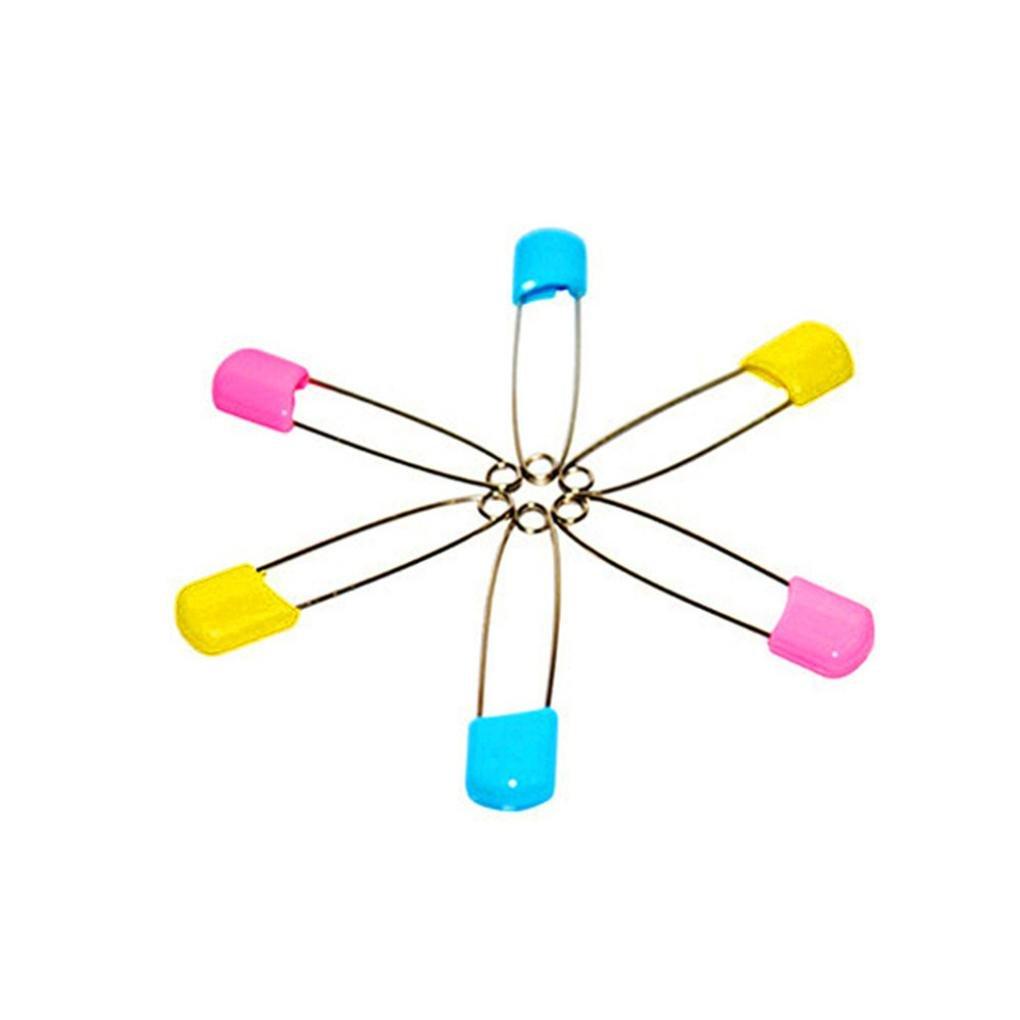 Nesee 10Pcs Kilt Pin Shawl Pins Three Loops Safety Broochs For Baby Saliva Towel Pin Crafts