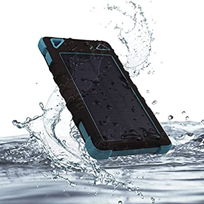 VIGLT Solar Power Bank 8000mAh Waterproof Portable Charger with Dual USB Port and LED Flashlight,Rain-, Dust-Proof and Shock-Resistant for Samsung/iPhone and Universal Mobile(Blue )