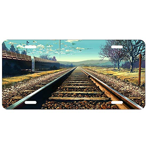 Vintage License Plate,Anime Train Track Blue Graphic, High Gloss Tinplate Novelty Plate, 6 X 12 Inches