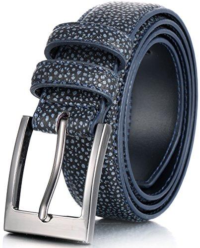Marino's Men Genuine Leather Dress Belt with Single Prong Buckle - Crocodile Navy - 32