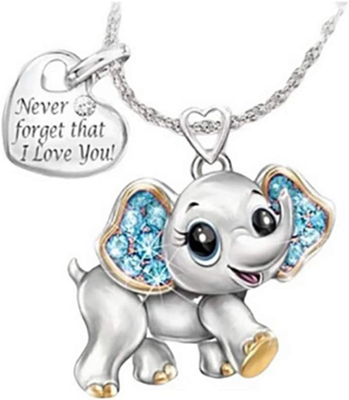 HHoo88 Simple Lovers Baby Elephant Necklace Fashion Cute Ideal Jewelry Gifts for Wife Girlfriend Valentines Gift Blue